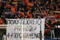 Σάλος με το πανό στο γήπεδο του ΑΠΟΕΛ για το Πολυτεχνείο: «44 χρόνια ψέματα»